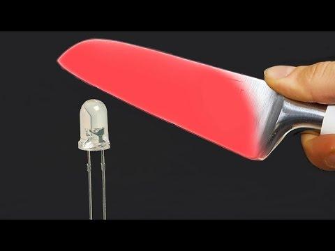 EXPERIMENT Glowing 1000 degree KNIFE VS LED Light Bulb